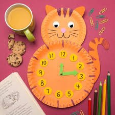 Paper Plate Cat Clock | Clocks diy crafts, Clock craft ...